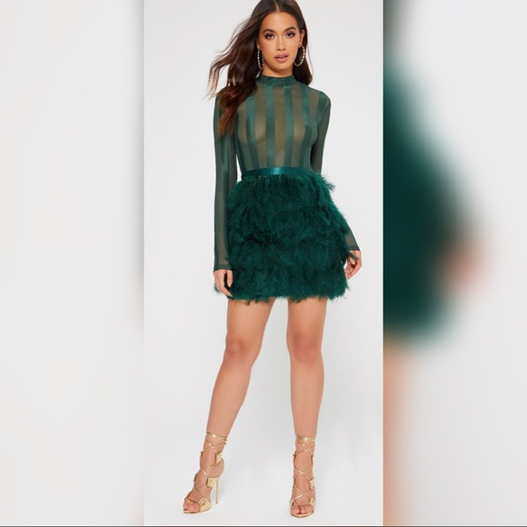 17% off PrettyLittleThing Dresses Pretty Little Things Green Feather ...